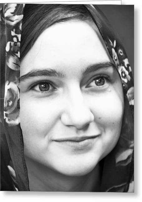 Girl With A Rose Veil 4 Bw Greeting Card