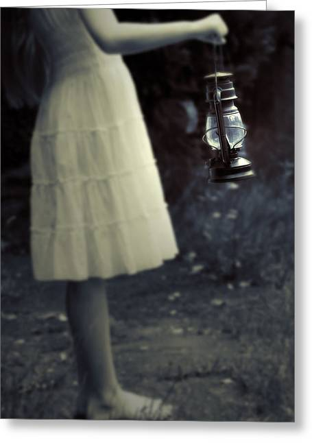 Girl With An Oil Lamp Greeting Card