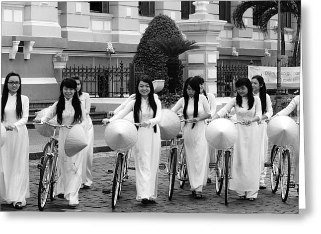 Greeting Card featuring the photograph Girls-bicycle by Arik S Mintorogo