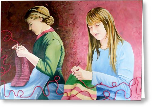 Girls Knitting Greeting Card