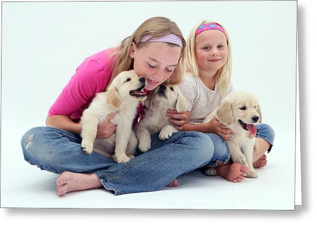 Girls With Puppies Greeting Card by Jane Burton