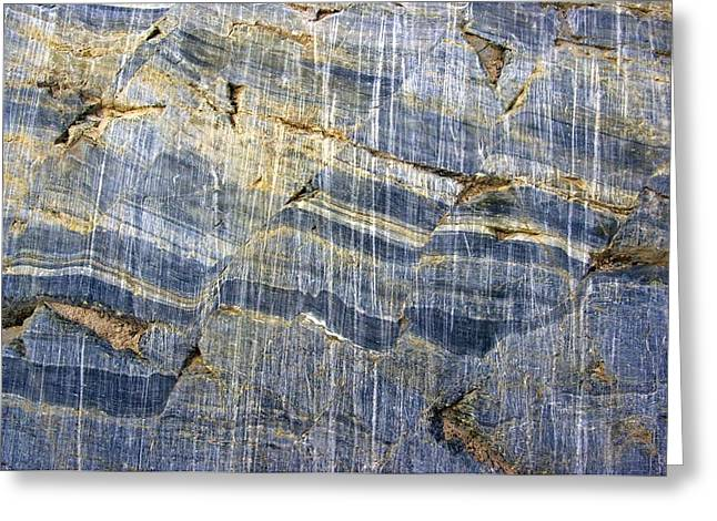 Glacial Striae On Fractured Marble Greeting Card by Dr Juerg Alean
