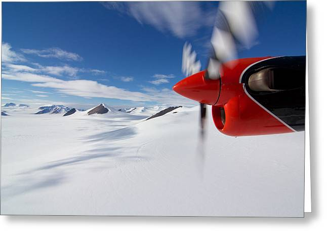 Glacier And Engine Greeting Card by Mike Denton