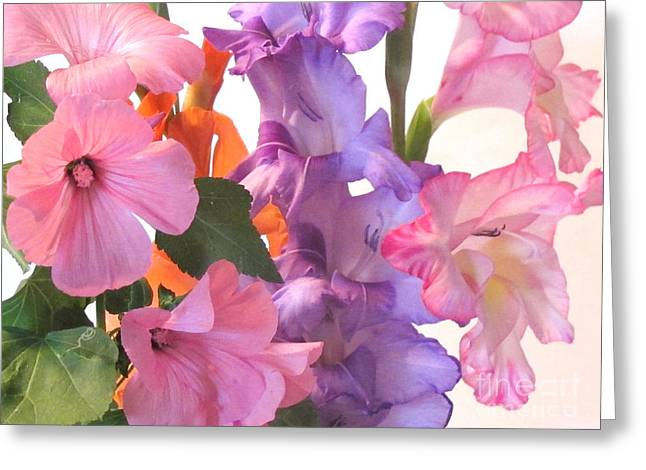 Gladiola Bouquet Greeting Card by Kathie McCurdy