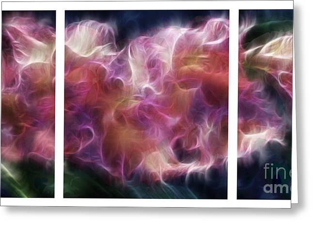 Gladiola Nebula Triptych Greeting Card