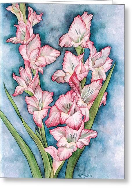 Gladiola Painting Greeting Card by Linda Wells