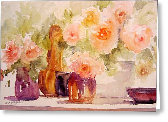 Glass And Roses Greeting Card by Sandra Strohschein