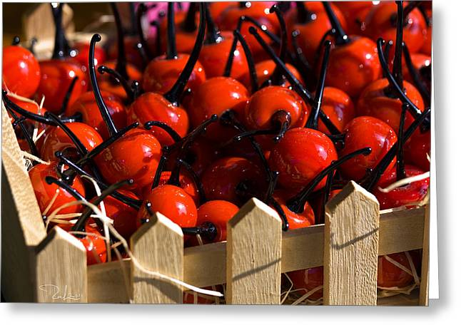 Greeting Card featuring the photograph Glass Cherries by Raffaella Lunelli