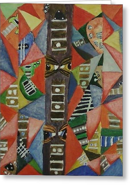 Glass Full Of Guitar Parts Greeting Card by Cecelia Taylor-Hunt