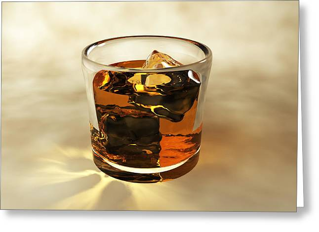 Glass Of Whiskey, Computer Artwork Greeting Card by Christian Darkin
