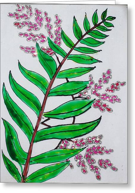 Glass Painting-plant Greeting Card by Rejeena Niaz