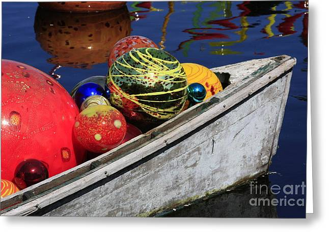 Glass Spheres In Bow Greeting Card by Jerry Bunger