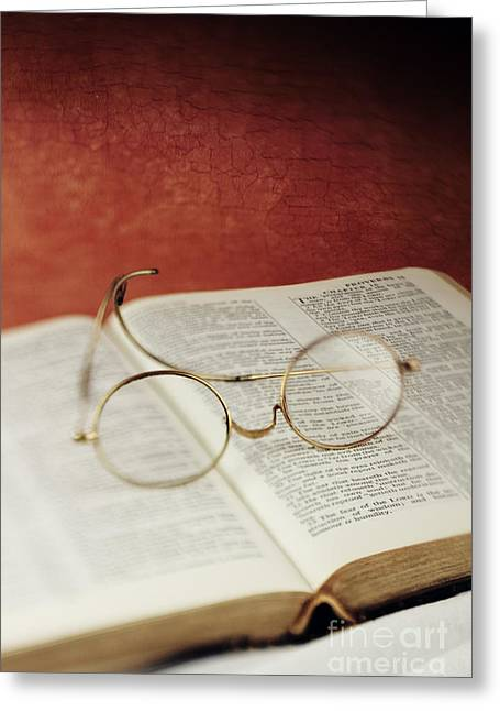 Glasses And Proverbs Greeting Card by Stephanie Frey