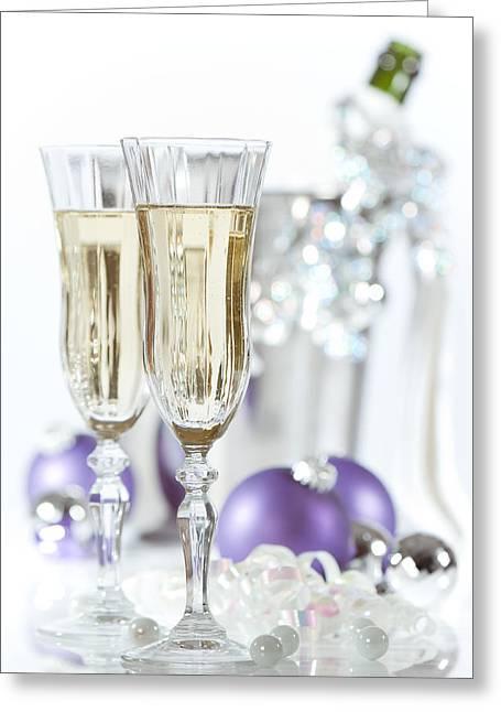 Glasses Of Champagne Greeting Card by Amanda Elwell