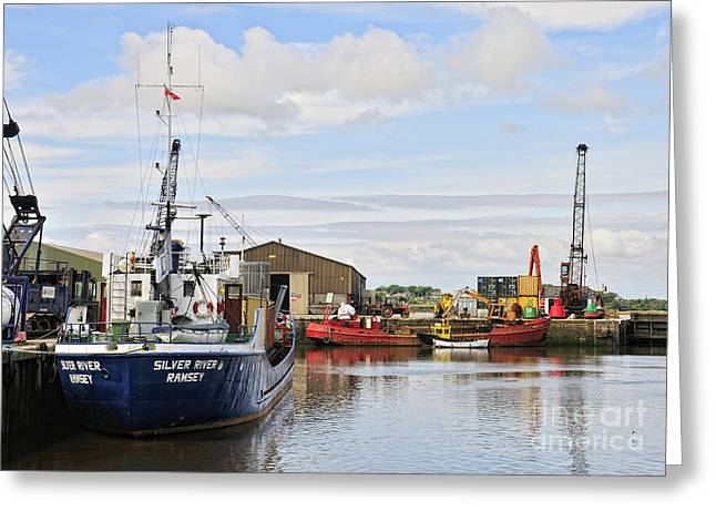 Glasson Dock Greeting Card by Jason Connolly