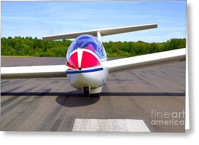 Glider On A Runway Greeting Card by Richard Thomas