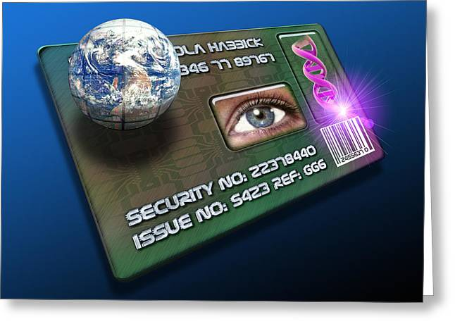 Global Id Card Greeting Card by Victor Habbick Visions