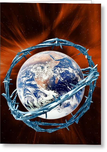 Global Security Greeting Card by Victor Habbick Visions