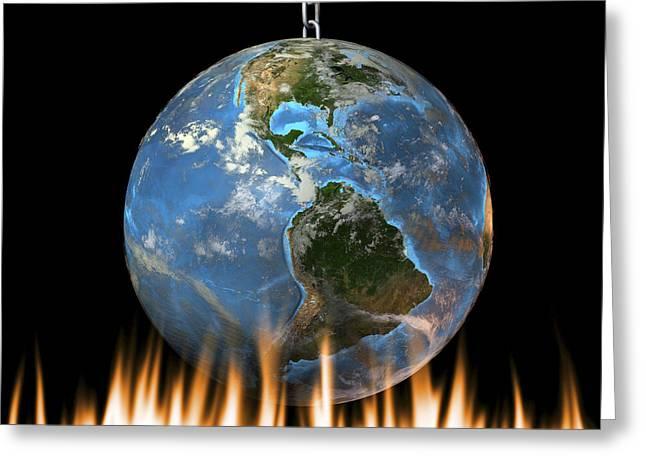Global Warming, Conceptual Artwork Greeting Card by Friedrich Saurer