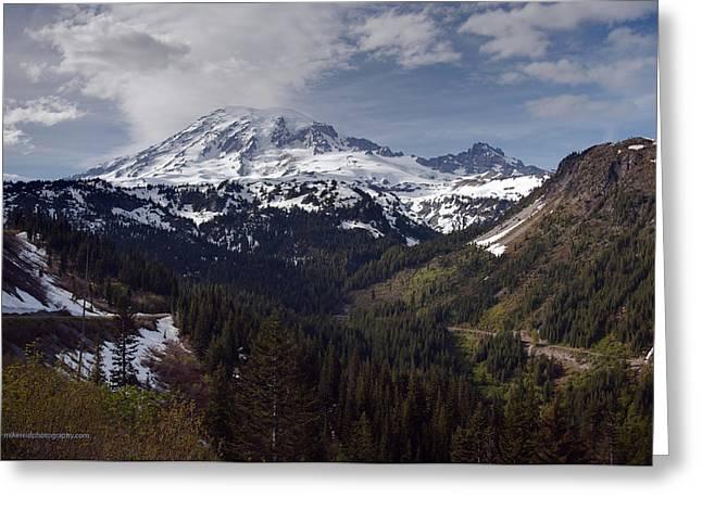 Glorious Mount Rainier Greeting Card by Mike Reid