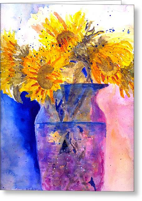 Greeting Card featuring the painting Glorious Sunflowers by MaryAnne Ardito