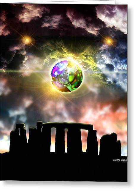 Glowing Ball Ufo Over Stonehenge Greeting Card by Victor Habbick Visions