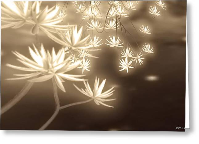 Glowing Flower Fractals Greeting Card