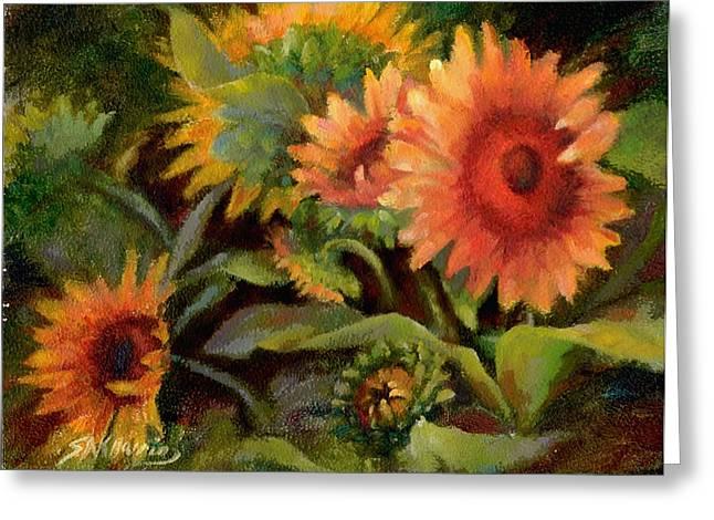 Glowing Sunflowers Greeting Card by Sharen AK Harris