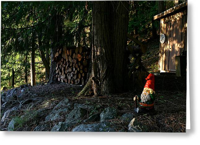 Gnome And The Woodpile Greeting Card by Lorraine Devon Wilke