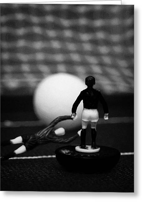 Goalkeeper Diving To Foul Player In The Box Football Soccer Scene Reinacted With Subbuteo  Greeting Card by Joe Fox