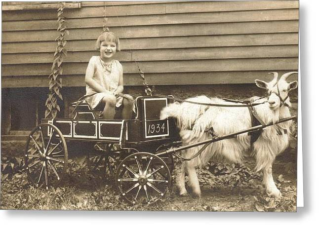 Goat Wagon Greeting Card