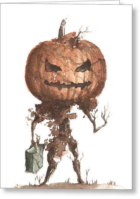 Goblin Tree Trick Or Treat Greeting Card by Sean Seal