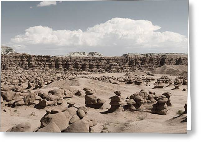 Greeting Card featuring the photograph Goblin Valley Desert Large Panorama by Mike Irwin