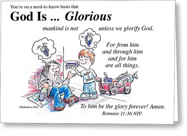 God Is Glorious Greeting Card by George Richardson