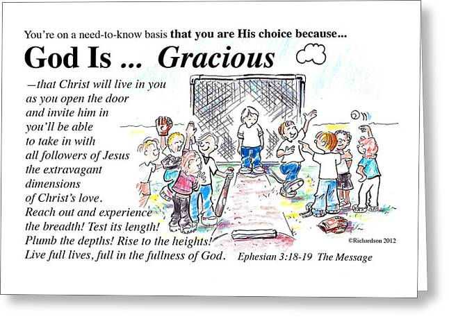 God Is Gracious Greeting Card by George Richardson