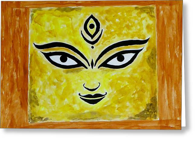 Greeting Card featuring the painting Goddess Kali by Sonali Gangane