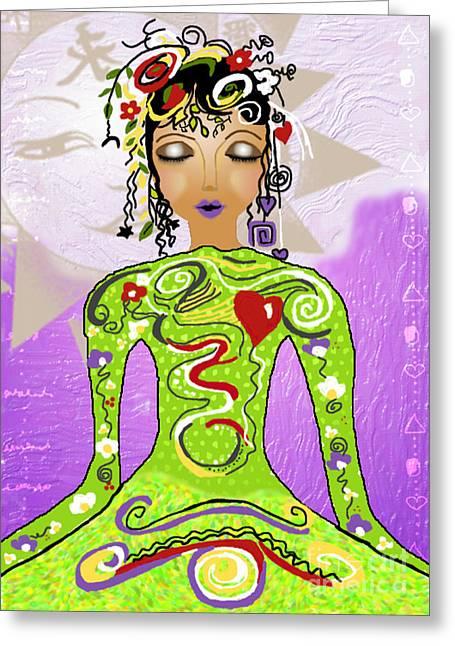 Goddess Of Yoga Greeting Card by Gia Simone