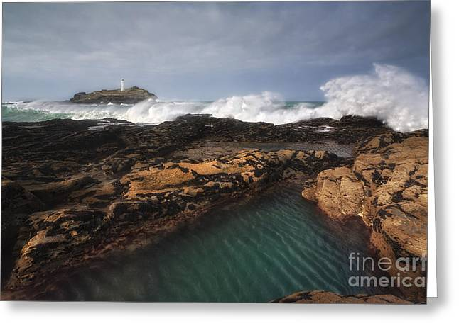 Godrevy Lighthouse In Cornwall, England Greeting Card by Arild Heitmann
