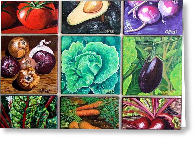 God's Kitchen Series Canvasses One To Nine Greeting Card by Caroline Street