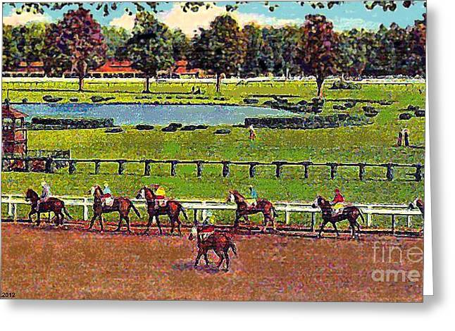 Going To The Post At Saratoga In 1910 Greeting Card
