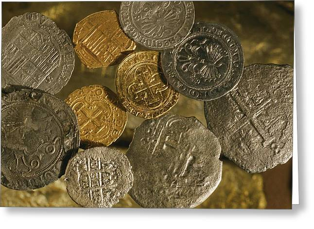 Gold And Silver Coins Minted In Both Greeting Card