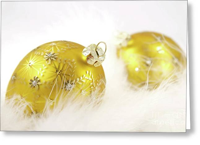 Gold Balls With Feathers Greeting Card by Sandra Cunningham