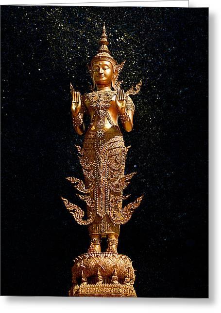 Gold Buddha  Greeting Card by Bou Lemon