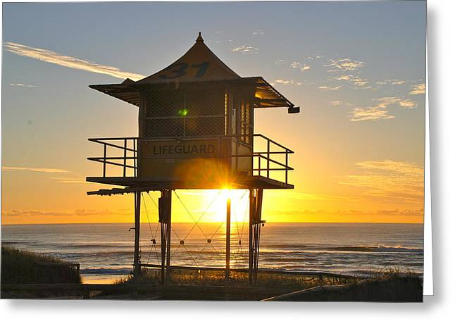 Greeting Card featuring the photograph Gold Coast Life Guard Tower by Eric Tressler