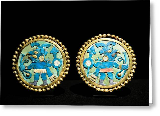 Gold Ear Ornaments, Moche Florescent Greeting Card by Tony Camacho