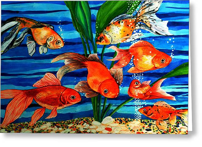 Gold Fishes Greeting Card by Johnson Moya