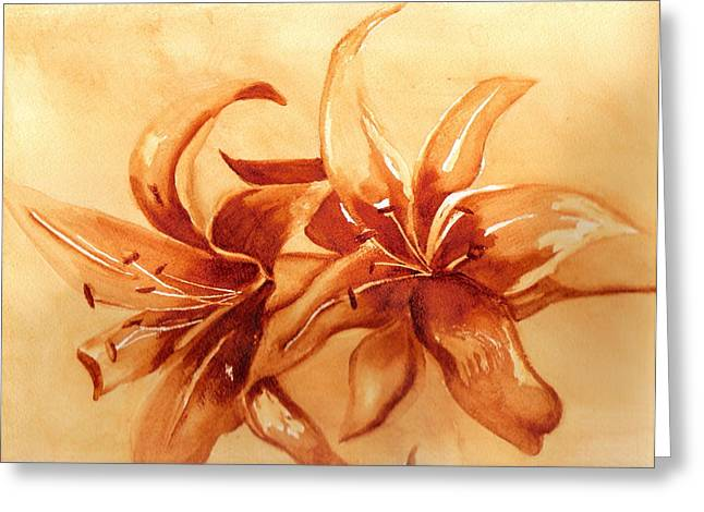 Gold Lilies Greeting Card