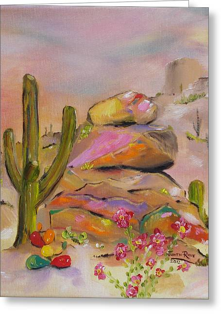 Greeting Card featuring the painting Gold-lined Rocks by Judith Rhue