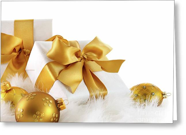 Gold Ribboned Gifts With Christmas Balls  Greeting Card by Sandra Cunningham