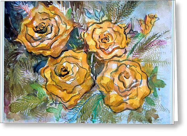 Gold Roses Greeting Card by Mindy Newman